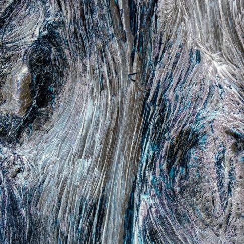Die gewachsenen Strukturen eines Olivenbaumes, sichtbar durch die längs aufgerissene Rinde