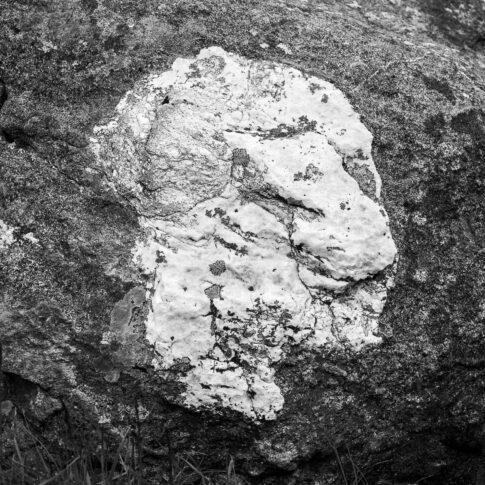 Im dunklen Fels eingeschlossener weißer Kalkstein in Form eines Kopfes