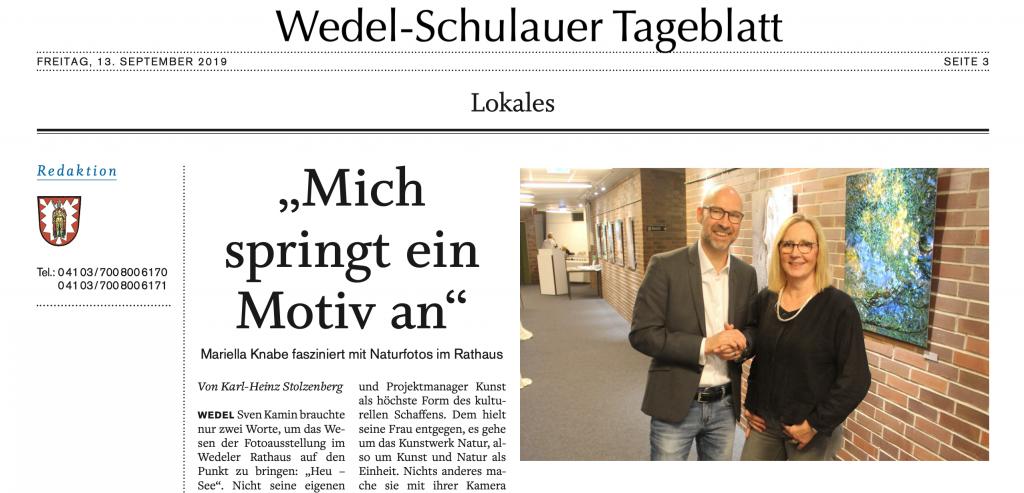 Mariella Knabe, Eigenart-Naturreich, Ausstellungseröffnung im Rathaus Wedel
