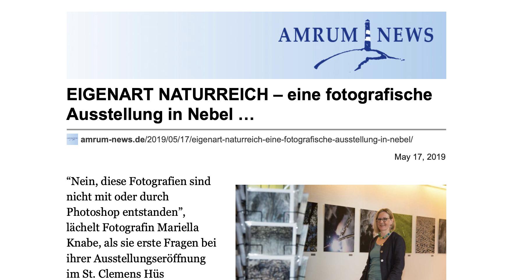 Mariella Knabe, Eigenart-Naturreich, Presseartikel Amrum-News